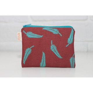 Feather wind series _ Rongrong green flower on red feather purse money