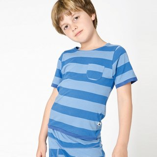 [Nordic Children's Wear] Organic Cotton Striped Pocket Top _ Sky Blue