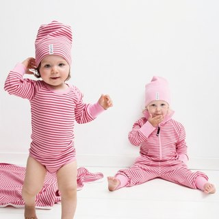 [Sweden] made of organic cotton color stripe package fart clothes red / pink (for 6M-24M)