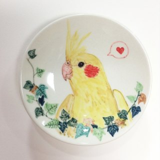 Cockatiels and sweet potato leaves - parrots painted saucer