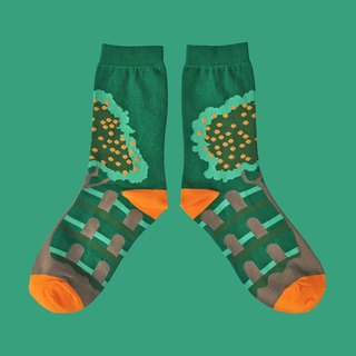 Fruit Tree Forest Green Unisex Crew Socks | colorful fun & comfortable socks