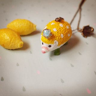 Fabulous Adventure - lemon yellow rain hedgehog necklace