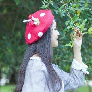 Zhang cute hand-made hat painter cap mushroom forest department ordered berets