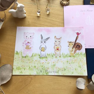 * Zoe's forest * Forest animals picnic postcard (cs25)