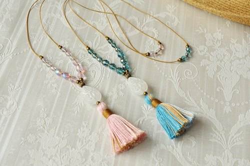 "Tassel Necklace ""sea and pink shell"""