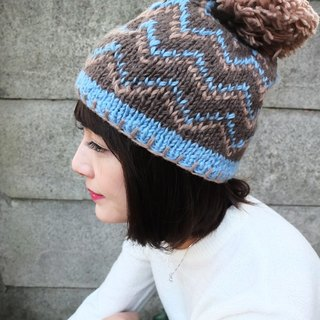【Grooving the beats】Handmade Hand Knit Wool Beanie Hat with Pompom(V Stripe_Blue)