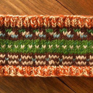 【Grooving the beats】Handmade Hand Knit Headband, Wool Headband, Womens Knitting Headband, Ear Warmer(Orange+Green)
