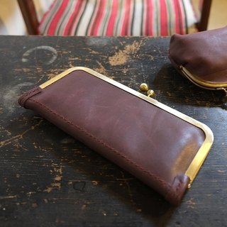 Lovey Leather Accessories / Potter Stones - wine red mouth gold clutch long wallet Japan hand stitches
