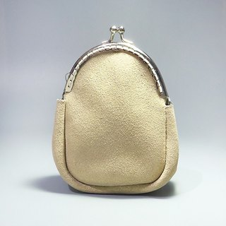 [ANITA] Workshop manual hand-made leather Moonlight shining gold mouth shell bag / purse - Specials