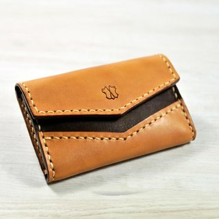 MICO hand-sewn leather card case (light tea coke tea)