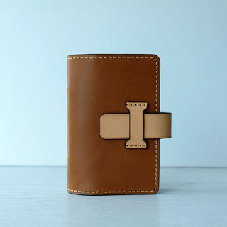isni [Multifunction card case / card holder] light-brown retro design /handmade leather/free imprint