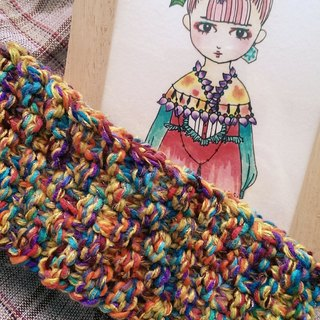 Lan hand-made summer knit hairband (colorful mustard)