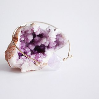 "[14KGF] Wire Bangle, Gemstone ""Lavender Amethyst"""