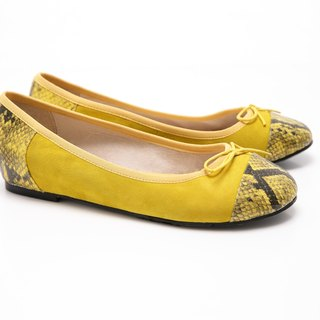 [Saint Landry] LAND serpentine mosaic design bow ballet shoes (yellow)