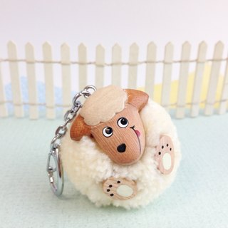 Handmade wooden [x] ♦ tongue yarn Peng Peng small babes key ring / Charm