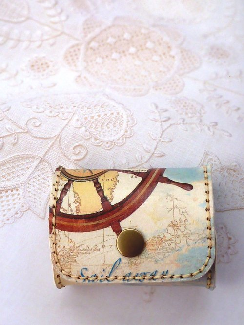 Hand-stitched leather purse