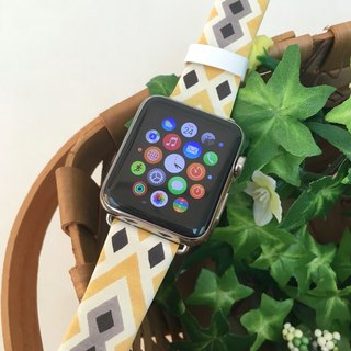 Apple Watch Series 1, Series 2 and Series 3 - 黃色復古部落圖案 Apple Watch 真皮手錶帶38 / 42mm ,100%香港設計及製作