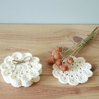 Natural color crochet coasters in groups of four