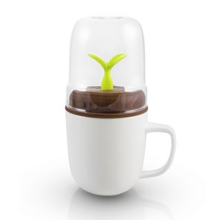 Dipper 1++ double cup set (white cup + coffee lid + green sprout stir stick)