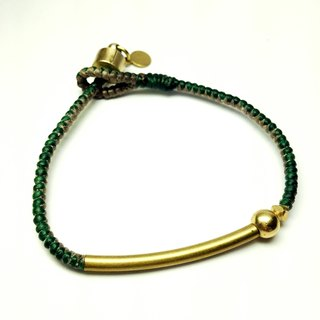 Green curry. Simple series ◆ Sugar Nok ◆ Wax line Brass Bracelet