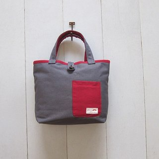 Macaron Collection: Canvas Tote - Small size (Wood Button Closure W/ Exterior Pocket) Charcoal + Wine Red
