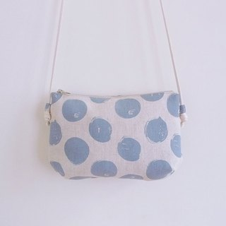 Manual sewing blue dot carry small oblique shoulder cloth bag