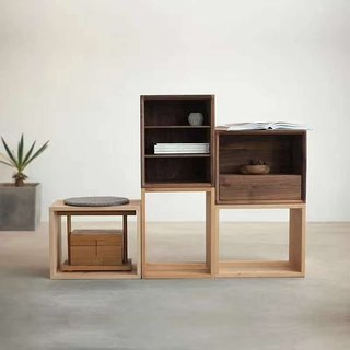 熹山工房-Free combination of solid wood small drawers - Three-tier cabinet - Storage cabinet - Walnut - Cherry wood