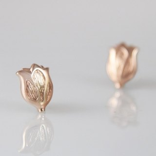 [Wonderland] Tulip 925 Silver Earrings - Rose Gold