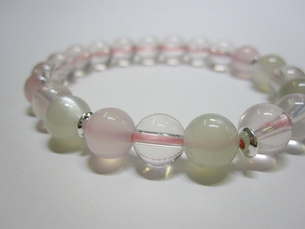 Night Ice - All Natural Ice Hibiscus Crystal + Pink Chalcedony + Moonstone 925 Sterling Silver Handcuffs Hong Kong Design