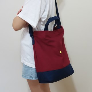 University shoulder bag, wine red, dark blue, no triangle