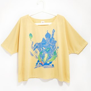 Great relaxed feel a sense of elegant travel T / blouses - Indian elephant (Sunshine Yellow) (remaining one)