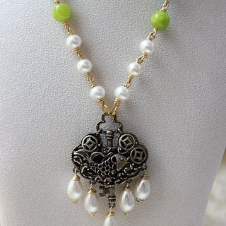 Chinese Lock Necklace - Blue and Apple Green Stone with Crystal Pearl Necklace (N298)
