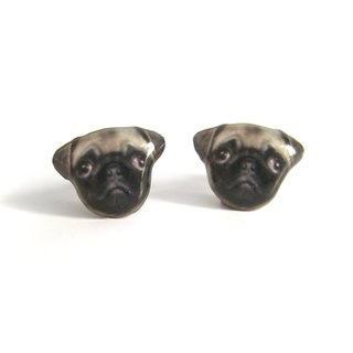 Brown Pugs earrings A025ER-D07