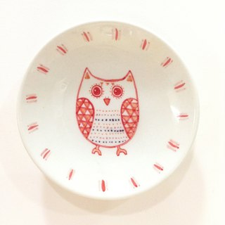 Owl (Red) - [stock] Lanyu painted saucer