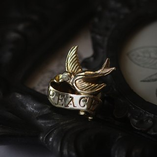 Swallow with Peace Quote Ribbon Ring by Defy - Original Handmade Jewelry - Statement Ring