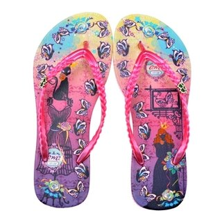 QWQ Swarovski Stone Flip Flop/F001-Cat Princess-A Powder
