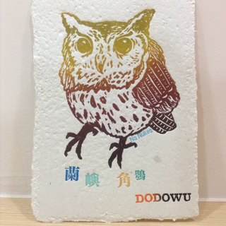 Lanyu scops owl baby - handwritten hard copy printed postcard