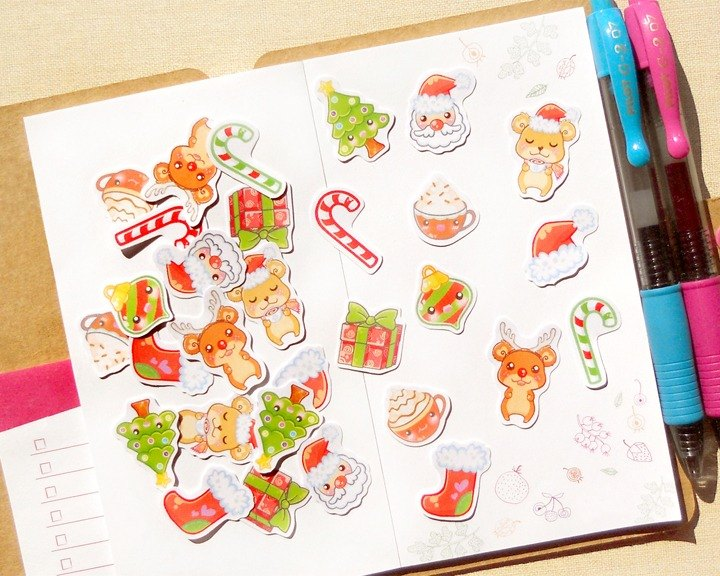 Christmas Stickers - 30 Pieces - Planner Stickers - Stickers for Planner