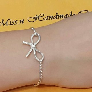 Bow Silver Bracelet / gift / Valentine's Day / Memorial Day