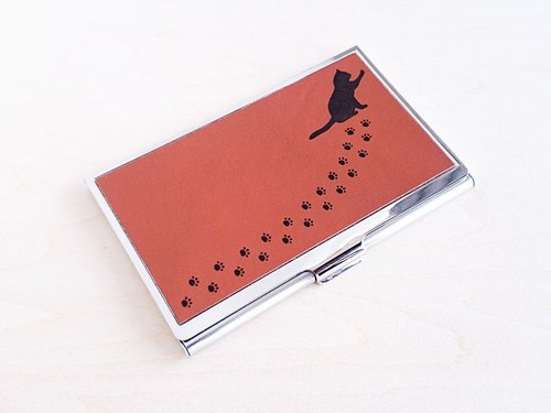 Cat and paws footprints Card Case (Red Brown)