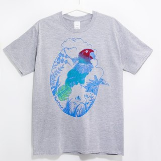 Men Fitted cotton illustration Tee / T-shirt - the color gradient parrot tropical South America