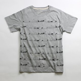 Cotton hand-printed T-shirt men's (family) - childlike Miro's city imagination (gray)