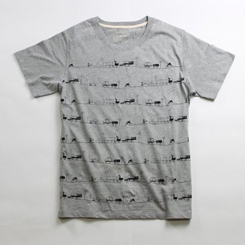 Hand-printed silk cotton T-shirt men (Parents Clothes) - childlike imagination Miro City (gray)