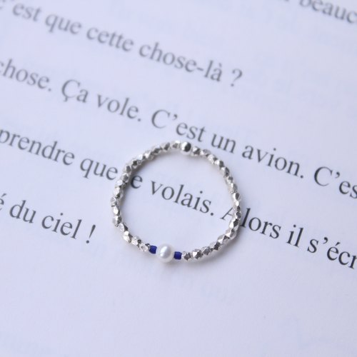 Journal (letter T- Treasure meticulous soft ring) - hand-made silver, lapis lazuli, natural pearls