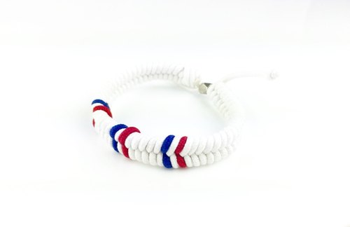 """White with red and blue color lines braid"""