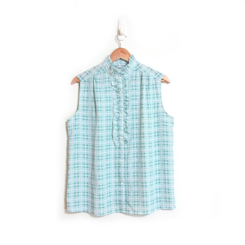 [Eggs] aqua checkered plant vintage vintage sleeveless collar shirt
