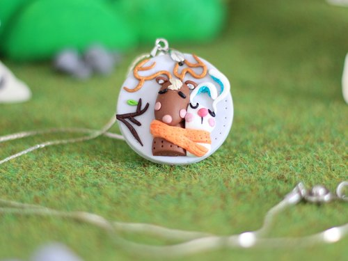 Deer and Rabbit polymer clay Necklace _ polymer clay pendant, woodland animals necklace, one-of-a-kind necklace