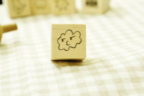 Hand carved rubber stamp // grumpy clouds wooden Chapter