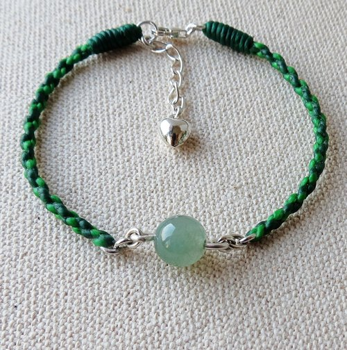 "[Opium poppy ﹝ Love ‧ chain ﹞] Silver ***fashion ""lucky heart"" wax line silk ice kind of jade bracelet emerald green lake*** Four stocks series"