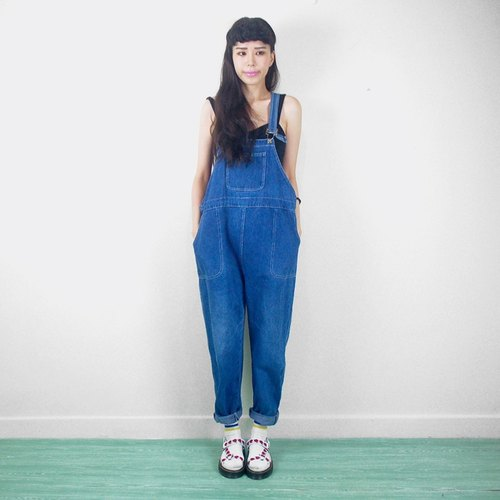 The wide front pockets vintage denim suspenders trousers AE9029